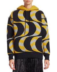Junya Watanabe Women's Wool-blend Geometric Knit Hoodie - Black Yellow