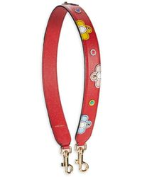 Dolce & Gabbana Beaded Floral Leather Bag Strap - Red
