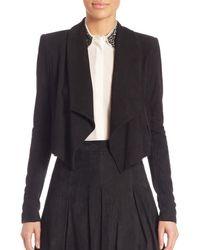 Alice + Olivia Harvey Shawl Collar Suede Jacket - Black