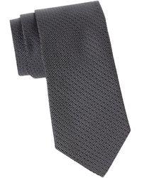 Canali Men's Geometric Silk Tie - Charcoal - Gray