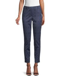 Tommy Hilfiger Women's Tapered Plaid Trousers - Indigo - Size 14 - Blue