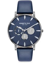 Kenneth Cole Dress Sport Stainless Steel & Leather-strap Watch - Metallic