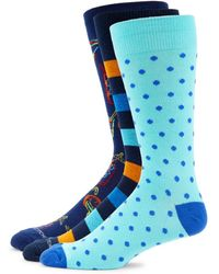 Unsimply Stitched Men's 3-pack Dot-print Crew Socks - Blue