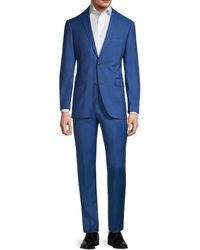 Saks Fifth Avenue Trim-fit Textured Wool Suit - Blue