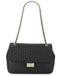 Karl Lagerfeld Agyness Leather Shoulder Bag - Black