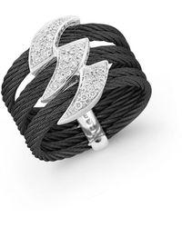 Alor 18k White Gold Black Stainless Steel Diamond Ring - Multicolor