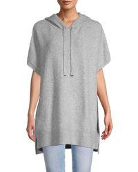 Calvin Klein Women's Hooded Poncho Sweater - Heather Granite - Size Xl - Gray