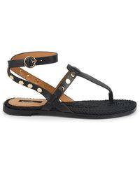 Kensie Embellished Flat Sandals - Black