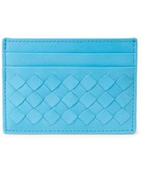 Bottega Veneta Intrecciato Leather Card Case - Blue