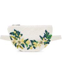 Sam Edelman Floral Raffia Belt Bag - White