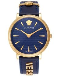 Versace Women's Goldtone Stainless Steel & Leather-strap Watch - Blue
