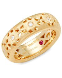 Roberto Coin - 18k Yellow Gold & Diamonds Cut-out Granada Ring - Lyst