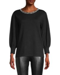 Karl Lagerfeld Embellished-neck Sweater - Black