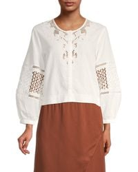 French Connection Esther Lace-trim Top - White