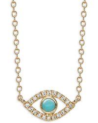 Saks Fifth Avenue - 14k Yellow Gold, Turquoise & Diamond Evil Eye Pendant Necklace - Lyst