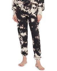 Kensie Women's Splotch Tie-dyed French Terry Vintage Joggers - White Black - Size M
