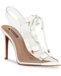BCBGMAXAZRIA Demi Lace-up Vinyl & Leather Slingback Pumps - White