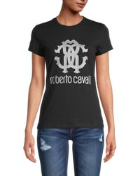Roberto Cavalli Women's Rc Logo T-shirt - Nero - Size S - Black