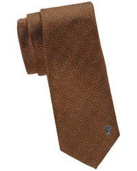 Versace Men's Herringbone Silk Tie - Mustard - Brown