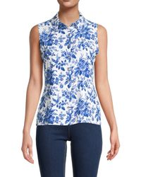 Tommy Hilfiger Women's Floral Sleeveless Shirt - French Blue - Size M