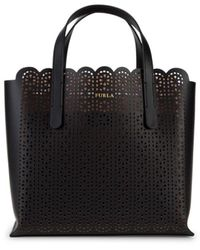 Furla Women's Sally Cut-out Leather Tote - Nero - Black