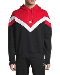 PUMA Men's Iconic Chevron Stretch-cotton Hoodie - Red - Size S