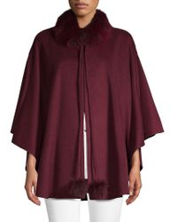 Belle Fare - Dyed Fox Fur-trimmed Cashmere Cape - Lyst