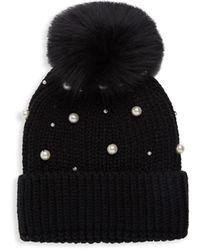 Adrienne Landau Fox Fur-trim & Faux Pearl-embellished Knit Beanie - Black