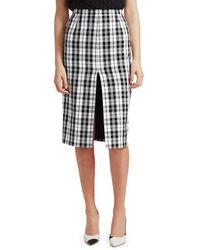 Michael Kors Women's High-slit Tartan Pencil Skirt - Black Optic White - Size 10