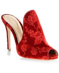 Gianvito Rossi - Embroidered Velvet Peep Toe Mules - Lyst