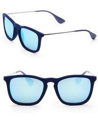 Ray-Ban Chris Velvet Unisex Mirrored Square Sunglasses - Blue