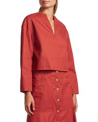 Tibi Women's Harrison Sculpted Split-neck Chino Top - Dusty Red - Size S