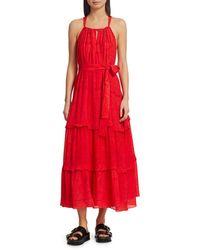 Chufy Huancayo Halter Lace Eyelet Maxi Dress - Red