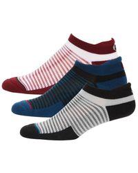 Asics Cushion 3-pack Striped Ankle Socks - White