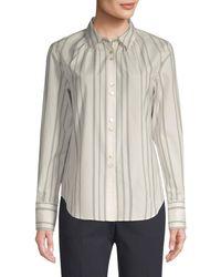 Becken Women's Shirred Silk & Wool Pinstripe Shirt - Green - Size 10