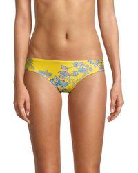 Sam Edelman Floral Print Bikini Bottom - Yellow