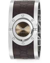 Gucci Twirl Collection Watch/brown Leather - Metallic