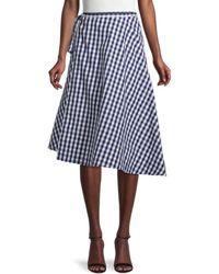 Mansur Gavriel Gingham Oversized Wrap Skirt - Blue