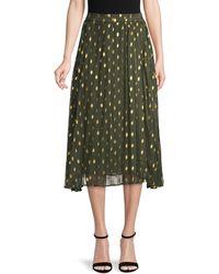 Endless Rose Pleated Polka Dot Skirt - Green