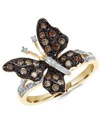 Effy Women's 14k Yellow Gold, White Diamond & Brown Diamond Butterfly Ring/size 7 - Size 7