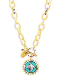 Freida Rothman - Turquoise, Crystal And Sterling Silver Wheel Cafe Pendant Necklace - Lyst