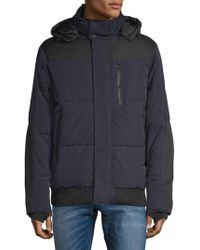 Tahari - Mixed Media Hooded Quilted Jacket - Lyst