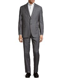Michael Bastian Plaid Wool Suit - Grey