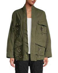 The Kooples Women's Buttoned Utility Jacket - Khaki Green