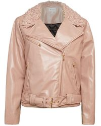 MILLY Oversized Faux Shearling Collar Motorcycle Jacket - Pink