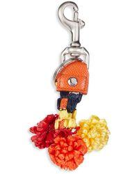 Dolce & Gabbana Raffia & Leather Key Holder - Orange