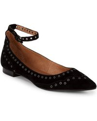 Frye - Sienna Grommeted Suede Ankle-strap Flats - Lyst