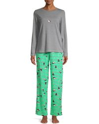 Hue - Two-piece Penguin Shimmer Knit Pajamas - Lyst