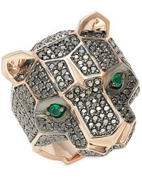 Effy 14k Rose Gold, Black Diamond & Emerald Panther Ring - Metallic