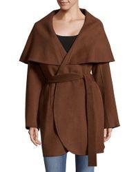 T Tahari - Wool Blend Wrap Coat - Lyst